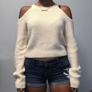 Beige Cut-Out Shoulder Sweater